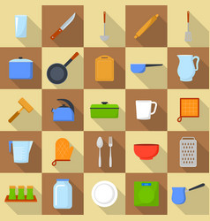kitchenware tools cook icons set flat style vector image