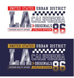 la california t-shirt print typography design vector image