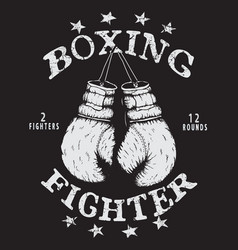 Label with boxing gloves vector