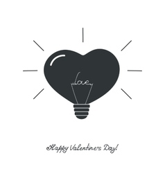 Lamp in the form of heart with the word love vector image