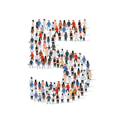 large group people in number 5 five form vector image