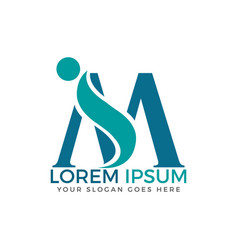 Letter m adoption and community care logo design vector