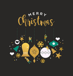 merry christmas card gold glitter bauble people vector image