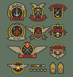 Military army badges patches soldier chevrons vector