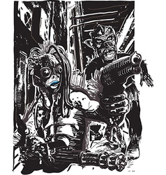 Monster with the Guns and Zombie - Freehand vector