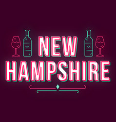 new hampshire vintage 3d lettering retro bold vector image