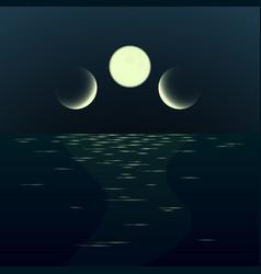Night fantasy moonrise seascape vector