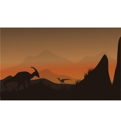 On the hills silhouette eoraptor and vector image