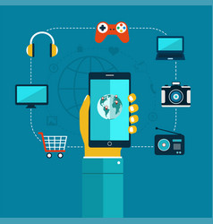 oncept of mobiles app phone in hand shopping vector image vector image