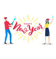 people man and woman greeting with happy new year vector image
