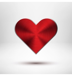 Red Valentiness Day Heart with Metal Texture vector