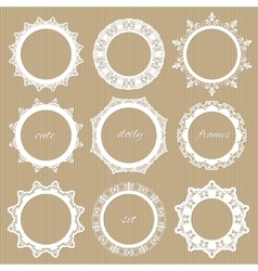 Round lacy doilies set Decorative frames vector