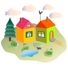 Rural lodges and the cat walking in the yard vector