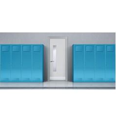 School corridor with blue lockers and closed door vector