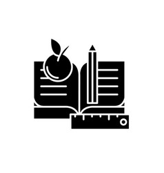 schooling black icon sign on isolated vector image