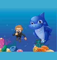 Scuba diver and shark underwater vector