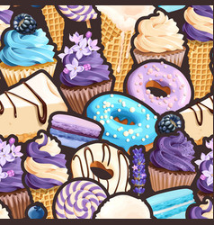 Seamless pattern with lilac and blue sweets vector