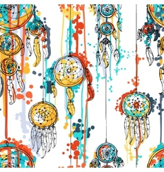 Seamless with dream catchers vector image