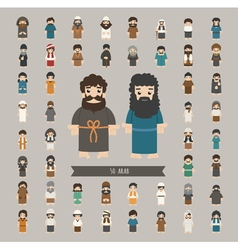 set arab characters poses eps10 format vector image