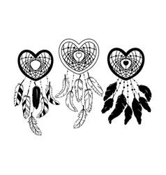 set hand drawn heart shaped dream catcher vector image