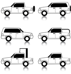 set of icons - transportation symbols black on whi vector image