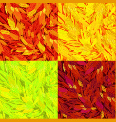 Set of seamless pattern with autumn leaves vector