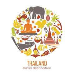 set thailand travel symbols and bangkok vector image