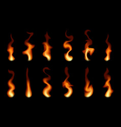 Set transparent fire flames vector