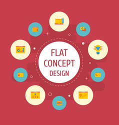 Set website development icons flat style vector