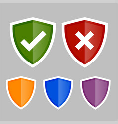 shield icons with correct and wrong symbols vector image