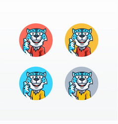Snow leopard mascot set template vector