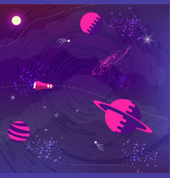 space flat background with planets and stars vector image