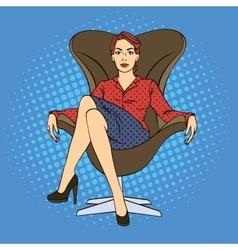 Successful Business Woman Pop Art vector