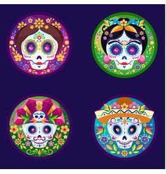 sugar skulls flat set vector image