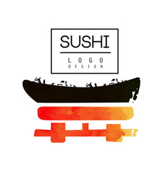 Sushi logo design japanese food label watercolor vector
