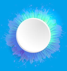template round frame with watercolor splashes and vector image