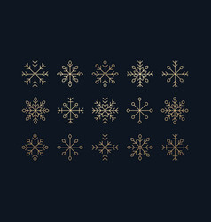 this is a set of golden icons of snowflakes vector image