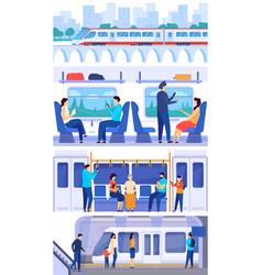Train passengers people in public railway vector