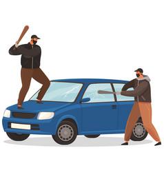 Two young vandals destroy car bandits vector