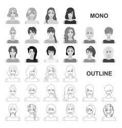 Types of female hairstyles monochrom icons in set vector