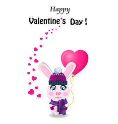 valentines day greeting card with cute rabbit in vector image