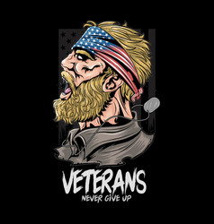 veterans united states soldier with usa flag vector image