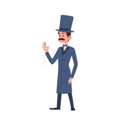 Victorian gentleman retro cartoon character flat vector