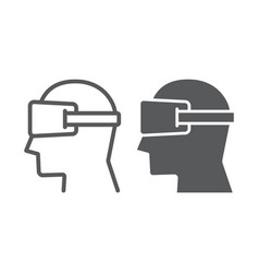 Virtual reality glasses line and glyph icon vector