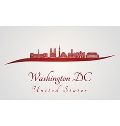 Washington DC V2 skyline in red vector