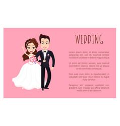 wedding poster with happy couple greeting everyone vector image