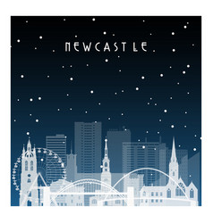 winter night in newcastle night city vector image