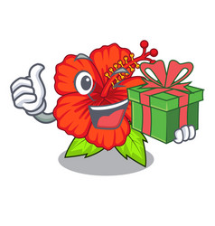 With gift hambiscus flower in the character tree vector