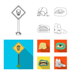 Zombies and attributes outlineflat icons in set vector