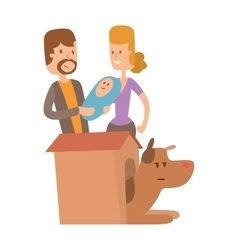 Dog life Happy puppy family members vector image